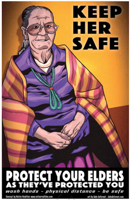 Fig. 2 : « Keep Him/Her Safe », « Protect your elders as they've protected you », « wash hands-physical distance-be safe ».